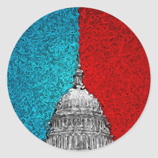 Capitol Building Abstract Round Sticker