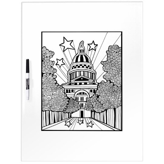 Capitol Building Texas Adult Colouring Dry Erase Whiteboard