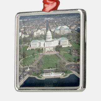 Capitol Hill Aerial Photograph 2 Silver-Colored Square Ornament
