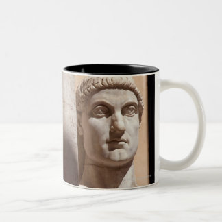 Capitol museum, bust face of emperor constantine Two-Tone coffee mug