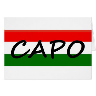 Capo with green and red stripes, show style! greeting card