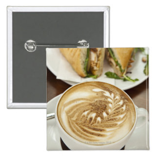 Cappuccino and panini lunch 2 inch square button