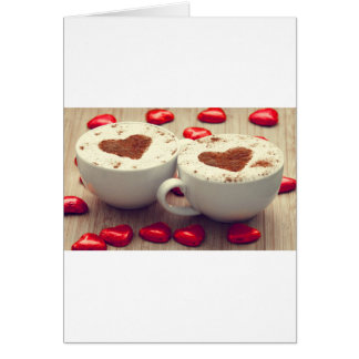 Cappuccino Loves Chocolate Hearts Card