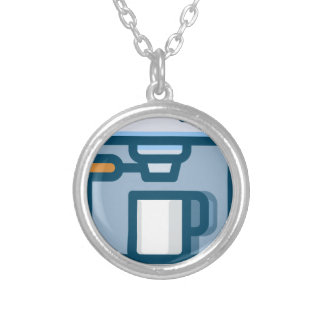 Cappuccino Machine Silver Plated Necklace