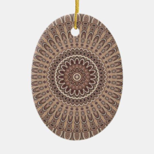 Cappuccino mandala ceramic ornament