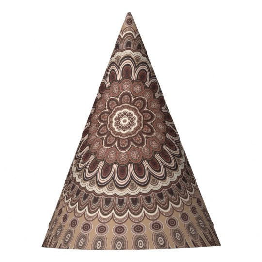 Cappuccino mandala party hat