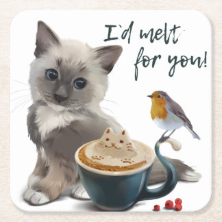 Cappuccino Square Paper Coaster