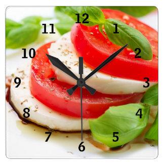 Caprese Salad. Tomato and Mozzarella slices Square Wall Clock