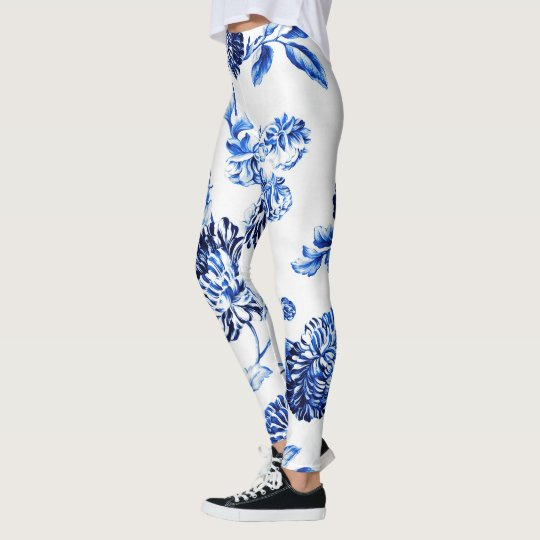 Capri Blue Vintage Botanical Floral Toile No.2 Leggings