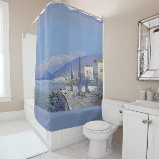 Capri Flowers Coast Houses Ocean Shower Curtain