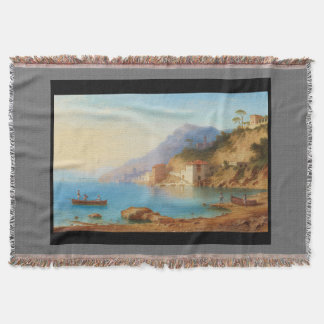 Capri Italy Coast Fishing Boats Throw Blanket