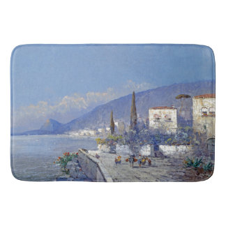 Capri Italy Coast Ocean Flowers Sea Blue Bath Mat