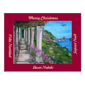 Capri, Italy  Merry Christmas Postcard