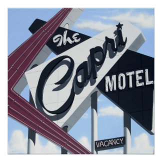 Capri Motel on Route 66 Retro Neon Poster