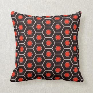 Capri - Red and Black Hexagon Throw Pillow