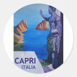 Capri view with Ancient Roman Empire Statue Poster Classic Round Sticker