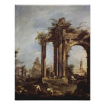 Capriccio with Roman Ruins, a Pyramid and Poster