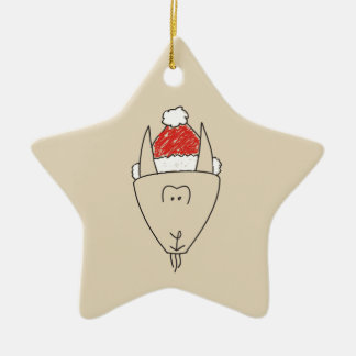Capricorn Christmas Funny Red Star Astrology Cool Ceramic Ornament