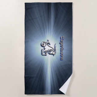 Capricorn chrome symbol beach towel