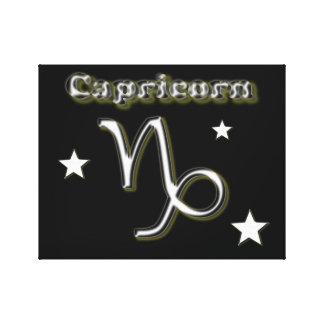 Capricorn chrome symbol canvas print