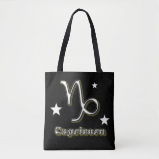 Capricorn chrome symbol tote bag