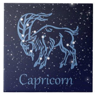 Capricorn Constellation and Zodiac Sign with Stars Ceramic Tiles