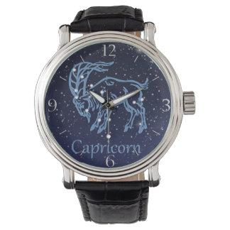 Capricorn Constellation and Zodiac Sign with Stars Wrist Watch
