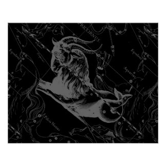 Capricorn Constellation Hevelius 1690 on Black Poster