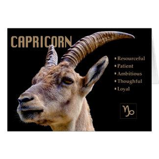 Capricorn Goat Zodiac Card with Characteristics