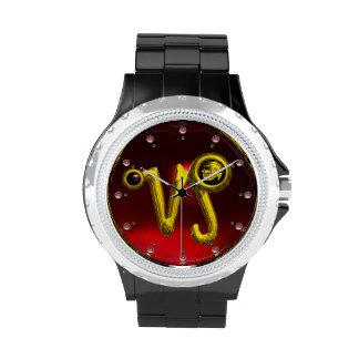 CAPRICORN GOLD ZODIAC BIRTHDAY JEWEL,Black,Ruby Wristwatch