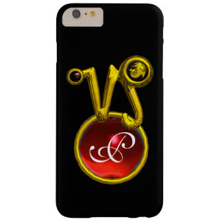 CAPRICORN GOLD ZODIAC SIGN RED RUBY MONOGRAM BARELY THERE iPhone 6 PLUS CASE