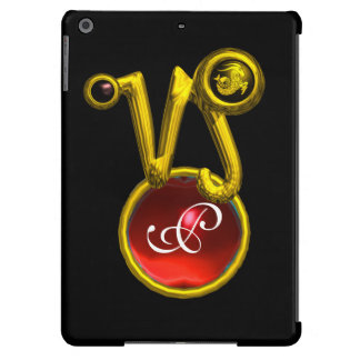 CAPRICORN GOLD ZODIAC SIGN RED RUBY MONOGRAM CASE FOR iPad AIR