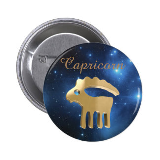 Capricorn golden sign 2 inch round button