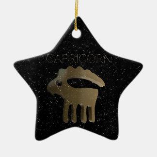 Capricorn golden sign ceramic ornament