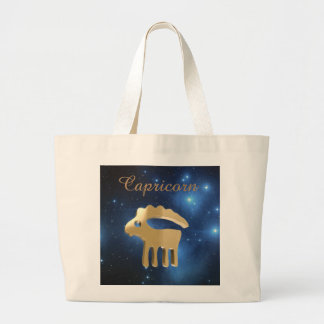 Capricorn golden sign large tote bag