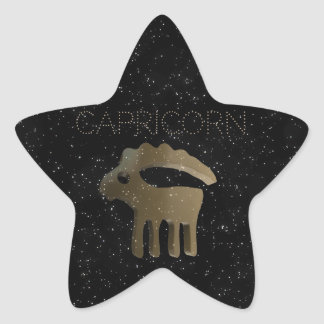 Capricorn golden sign star sticker