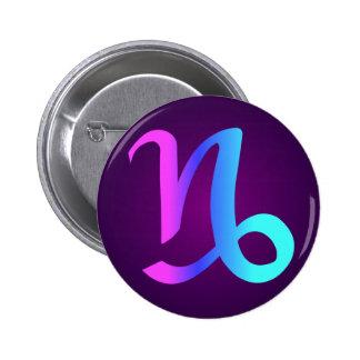 Capricorn Horoscope Sign Pink Blue Aqua Purple 2 Inch Round Button