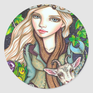 Capricorn Round Sticker