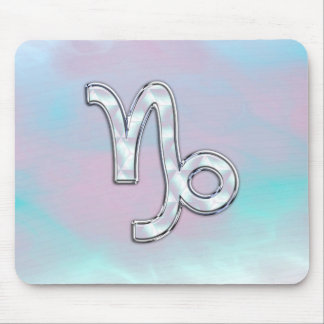Capricorn Sign on Mother of Pearl Nacre Style Mouse Pad
