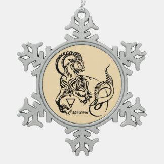 capricorn snowflake pewter christmas ornament