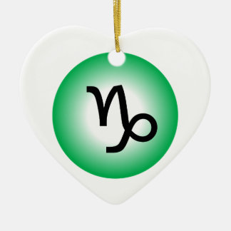 CAPRICORN SYMBOL CERAMIC HEART ORNAMENT