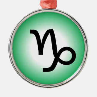 CAPRICORN SYMBOL Silver-Colored ROUND ORNAMENT