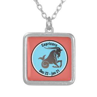 CAPRICORN SYMBOL SILVER PLATED NECKLACE