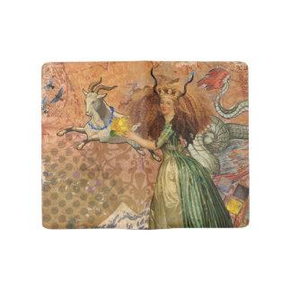 Capricorn Woman Collage Vintage Whimsical Surreal Large Moleskine Notebook