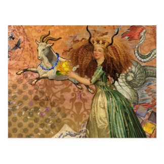 Capricorn Woman Collage Vintage Whimsical Surreal Postcard