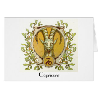 Capricorn Zodiac Antique Art Greeting Card
