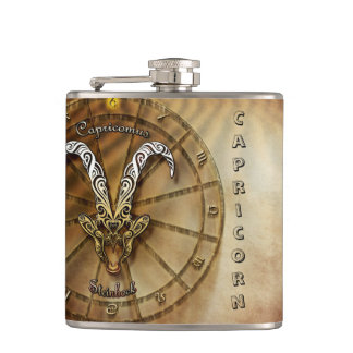 Capricorn Zodiac Astrology design Hip Flask