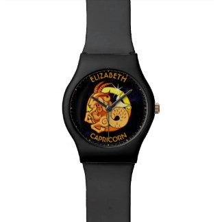 Capricorn Zodiac Birthday Sign With Your Name Wristwatch