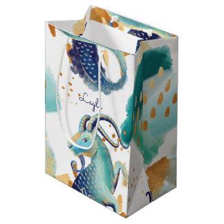 Capricorn Zodiac Goat Teal Watercolour Gift Bag