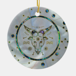 Capricorn Zodiac Gold Abalone on Constellation Ceramic Ornament
